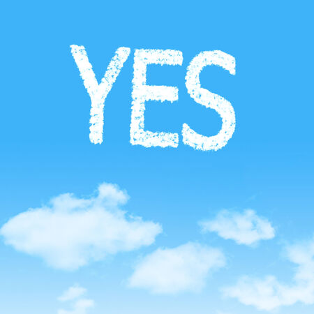 yea: cloud icon with design on blue sky background