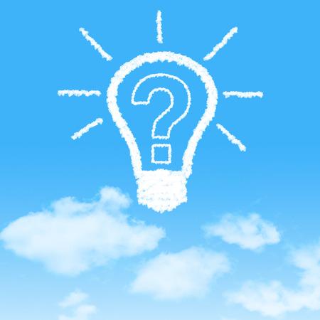 bulb Question mark shaped clouds on blue sky photo