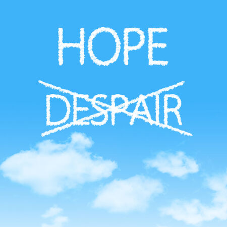 Choosing Hope instead of Despair cloud icon with design on blue sky background photo