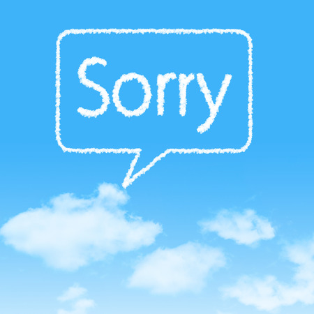 Sorry cloud icon with design on blue sky background photo