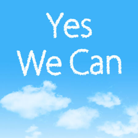 Yes We Can cloud icon with design on blue sky background