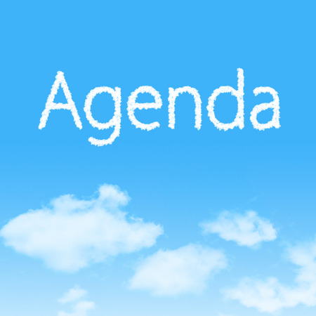 Agenda cloud icon with design on blue sky background Stock Photo