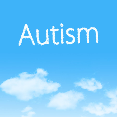 Autism cloud icon with design on blue sky background Stock Photo