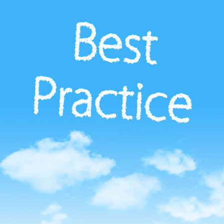 Best Practice cloud icon with design on blue sky background photo