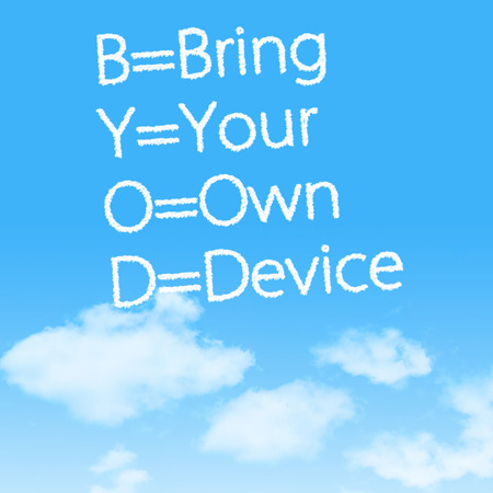 Bring Your Own Device cloud icon with design on blue sky background photo