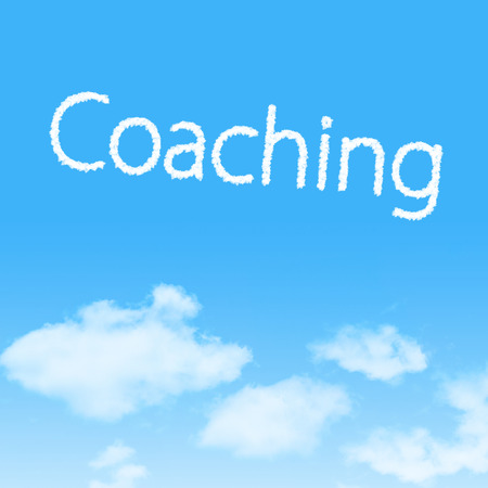 Coaching cloud icon with design on blue sky background
