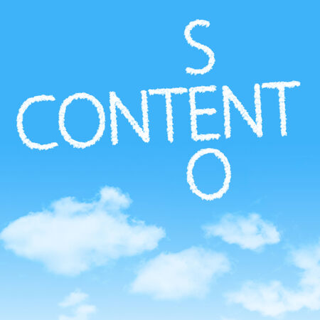 Content SEO crossword cloud icon with design on blue sky background Stock Photo - 27242468