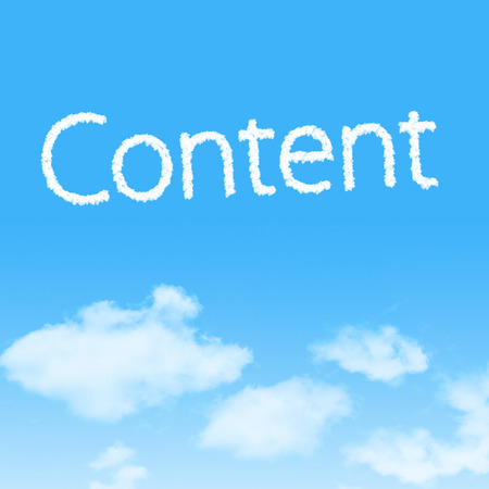 meta data: Content cloud icon with design on blue sky background Stock Photo