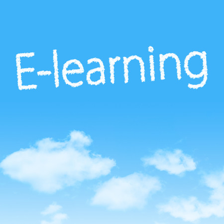 E-learning cloud icon with design on blue sky background