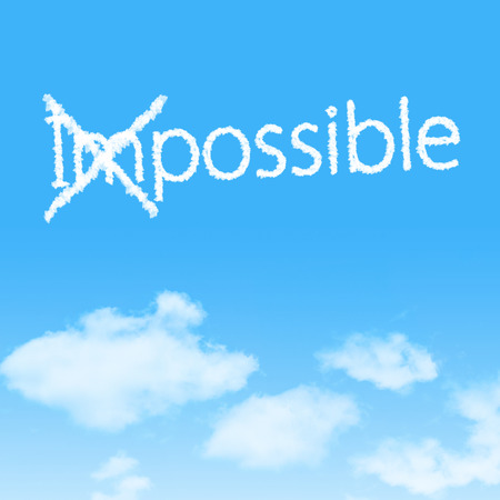 unachievable: Impossible into Possible cloud icon with design on blue sky background
