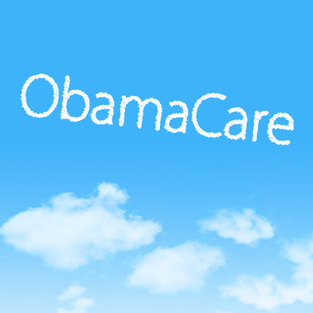 ObamaCare cloud icon with design on blue sky background photo