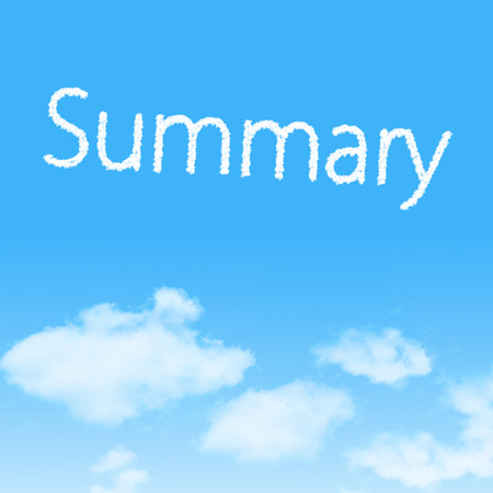 Summary cloud icon with design on blue sky background