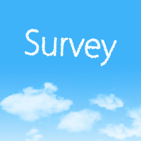 appraise: Survey cloud icon with design on blue sky background