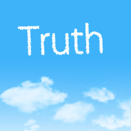 untrue: Truth  cloud icon with design on blue sky background Stock Photo
