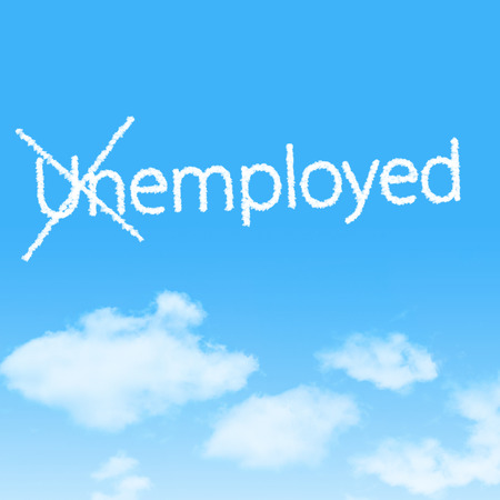 Unemployed cloud icon with design on blue sky background photo