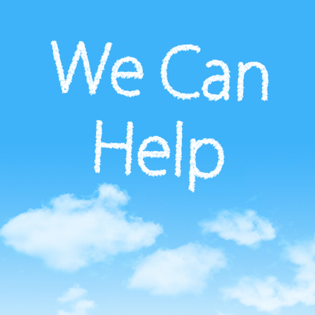 We Can Help cloud icon with design on blue sky background photo