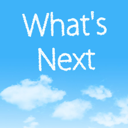 Whats Next cloud icon with design on blue sky background photo