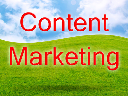 Content Marketing of green fresh grass under blue sky Stock Photo - 27414951
