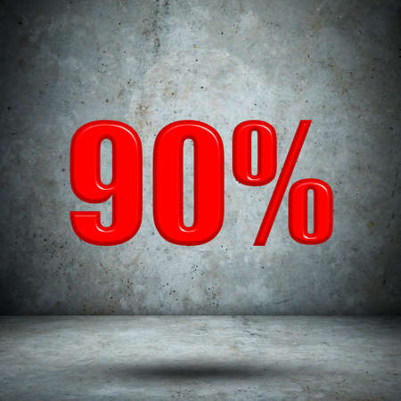 90: 90 percent on concrete wall