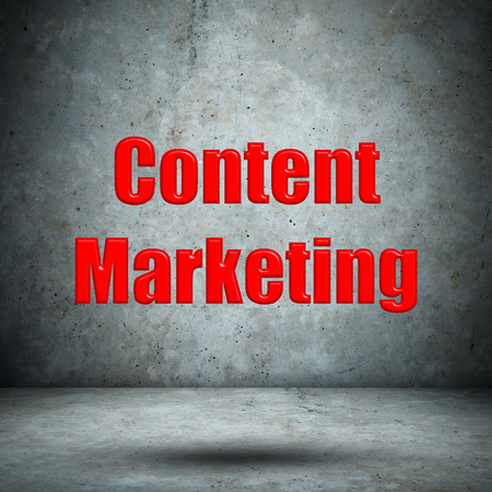 Content Marketing on concrete wall Stock Photo - 27414510