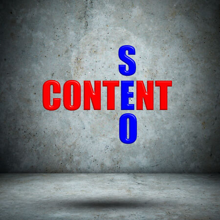 Content SEO crossword on concrete wall Stock Photo - 27414511