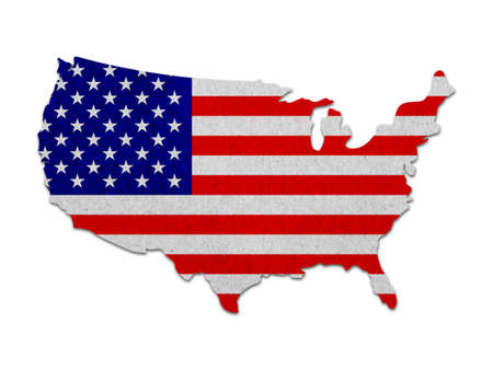 United states map with the flag paper photo