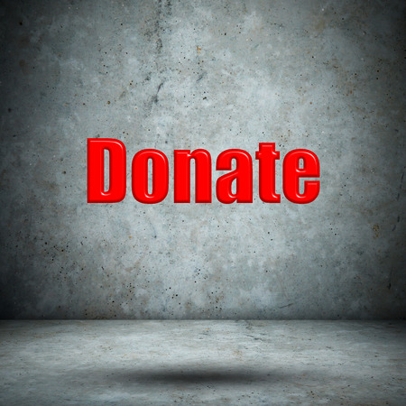 Donate on concrete wall photo