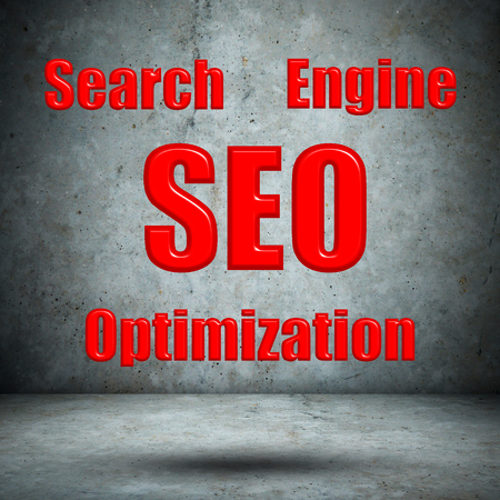 Search Engine Optimization concrete wall Stock Photo - 27977034