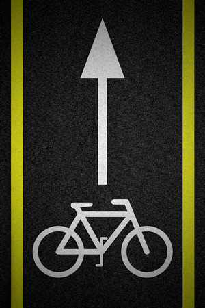 Bicycle road sign and arrow photo