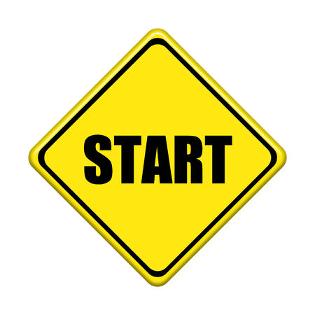 start sign on white background photo