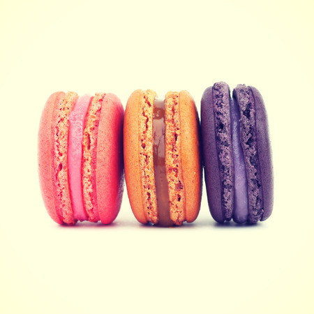 Sweet and colourful french macarons retro-vintage style photo