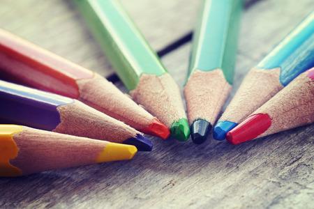 old pencil:  Color pencils old retro vintage style