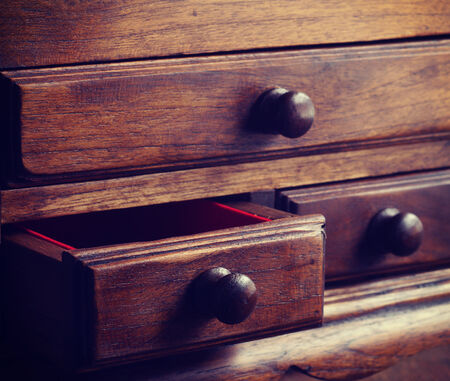 furniture detail: wooden drawers old vintage retro style