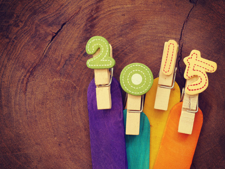 fifteen year old:  2015 on wood old retro vintage style