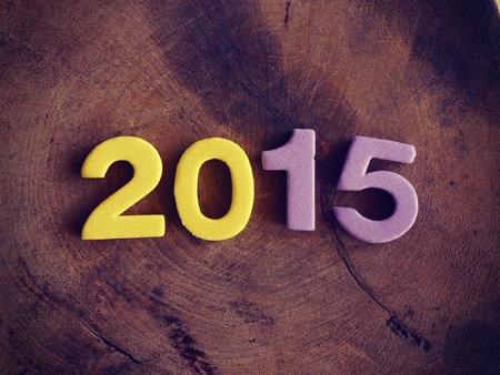2015 on wood old retro vintage style Stock Photo
