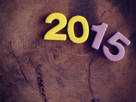 fifteen year old: 2015 on wood old retro vintage style Stock Photo
