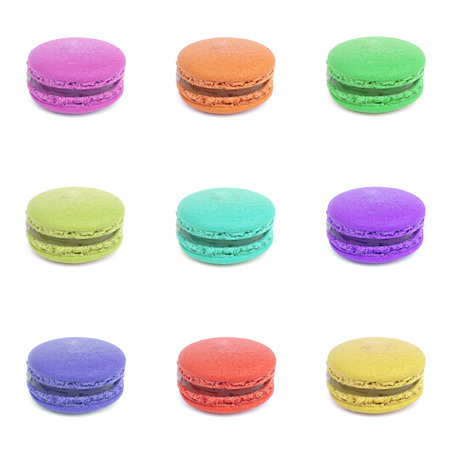 Colorful macaroons collection set of isolation on a white background photo