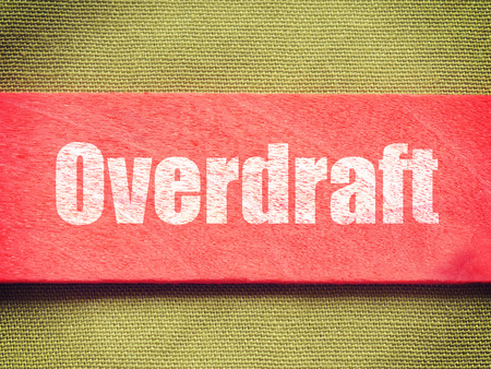 overdraft: text on Background old retro vintage style Stock Photo