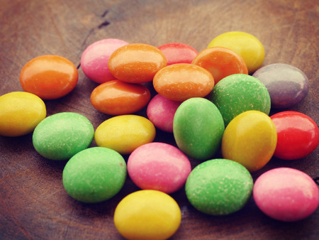 colorful chocolate coated candy old retro vintage style photo