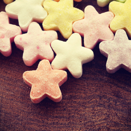 Colorful candy stars old retro vintage style photo
