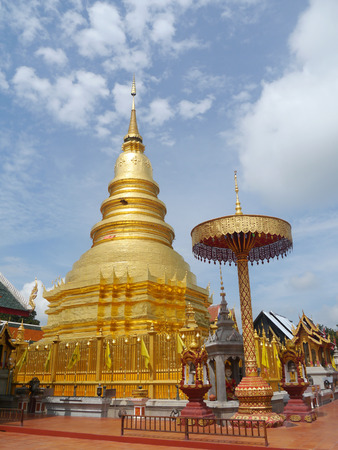 lamphun: Thai temple of buddhism,Wat Phra That Hariphunchai in lamphun, Thailand Stock Photo