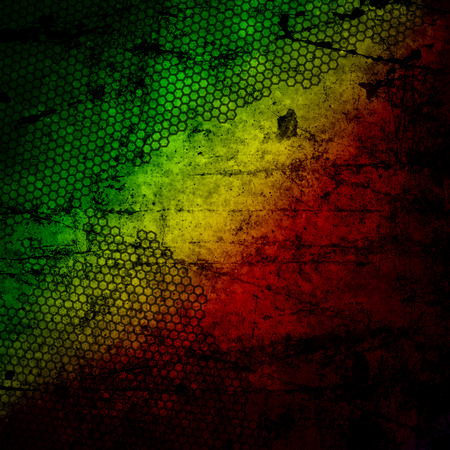 Red, yellow, green rasta flag on grunge textured concrete  wall Standard-Bild