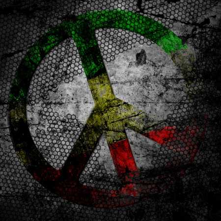 Peace sign rasta grunge background textured on concrete wall photo