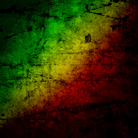 rasta: Red, yellow, green rasta flag on grunge textured concrete  wall Stock Photo
