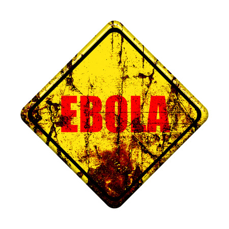Ebola virus  yellow road sign on white background photo