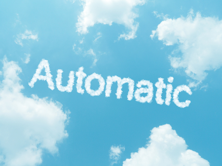 qwerty: cloud words with design on blue sky background