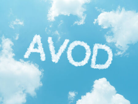 iptv: cloud words with design on blue sky background