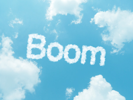 turnaround: cloud words with design on blue sky background