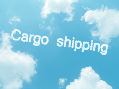 shipped: cloud words with design on blue sky background