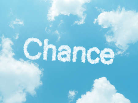 odds: cloud words with design on blue sky background